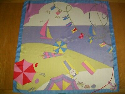 Marja Kurki. Large Gorgeous & Unusual Seaside Design Vintage Silk Scarf