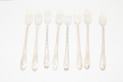 "Wm Rogers & Son IS Exquisite Silverplate 8"" Flatware Grille Forks Service for 8"