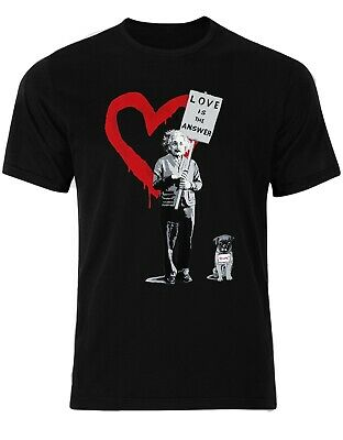 Red Heart Banksy Love Is The Answer Albert Einstein Pug Mens Tshirt AN23