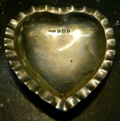 """Antique A & JZ Heart Shaped Sterling Silver Bowl / Ashtray 2.63"""" x 2.93"""" V. Good"""