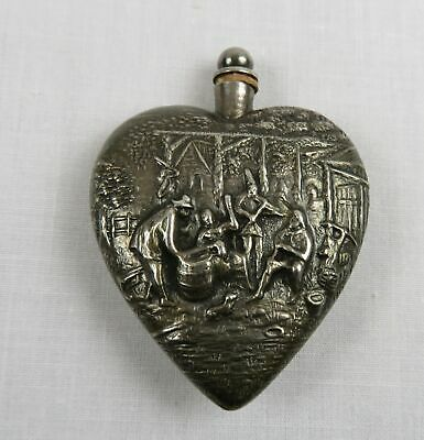 Vintage Heart Shaped  Repousse Sterling Silver Mini Perfume/Scent Container
