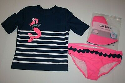 New Carter's Girls 3 Piece Swimsuit Set with Top Bottom & Hat NWT 4 5 yr Mermaid