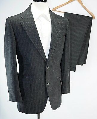 VTG Brooks Brothers Flannel Chalk Stripe 3 Roll 2 Button Gray Wool Suit 40R 34W