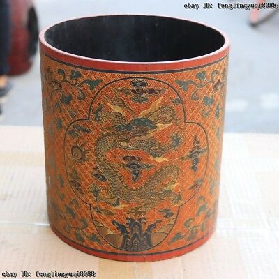 9 Chinese Folk Old Wood Wooden Hand Carved Painted Dragon Brush Pot Pencil Vase
