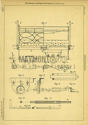 Bed Lifts Monkhouse Original Patent Lithograph 1888