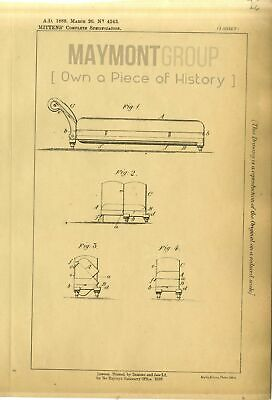Couches & Bedsteads Mittens Original Patent Lithograph 1888