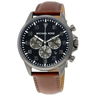 66452194365d MICHAEL KORS Gage Chronograph Black Dial Brown Leather Men s Watch MK8536