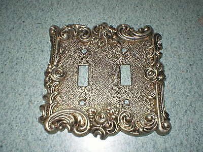 VTG American Tack & Hardware 2 Gang Ornate Wall Metal Switch Plate Cover #60TT