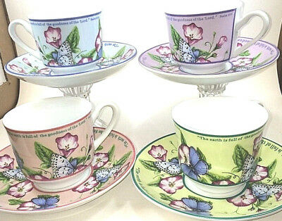 """Floral Butterfly Collectible """"In Heavenly Condition"""" Set Of Four Cups/Saucers"""