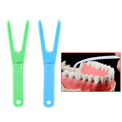 Blue durable Y shape dental floss holder dental care'aid oral pick teeth care *t
