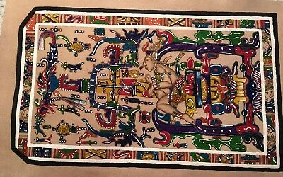 """Palenque Chis Painting on Leather """"Chariots of the Gods"""" 16.5 x 10.5"""
