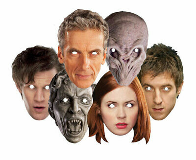 Doctor Who Companions and Monsters 2D Card Party Face Masks Variety Set of 6