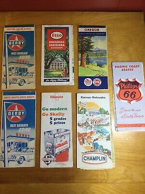 LOT 7 vtg Road Maps Derby Esso Skelly Chevron Phillips 66 Champlin