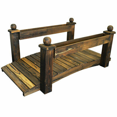 Garden Bridge with 2 Planters - Outdoor Solid Wood Decoration ZLY-5121