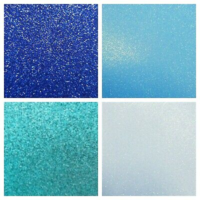 Set of 4 Blues A4 Fixed Glitter Cardstock 220gsm Ultra Low Shed Card Craft