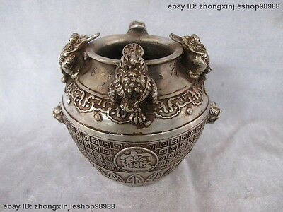 China Tibet Silver carved Feng Shui Collection  wealth beast Lucky vase pot