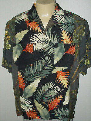 82a9de4b Tommy Bahama 100% Silk Patchwork Panels Aloha Hawaiian Camp Shirt Men Xl