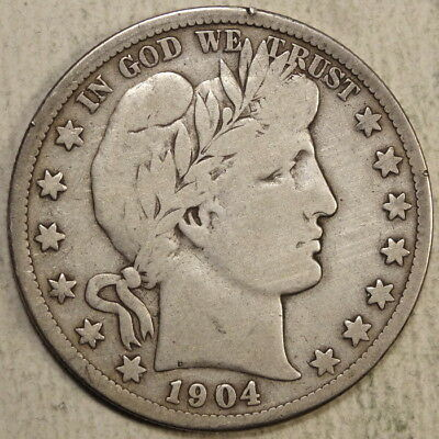 1904-S Barber Half Dollar, True Very Good+, SCARCE Better Date  1101-12