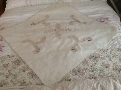 Vintage Cream Linen Table Cloth Lace Inserts.