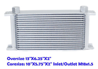 Silver Universal M18X1.5 10-Row Aluminum Engine Transmission Racing Oil Cooler