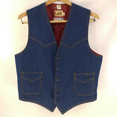 "EUC Mens Vintage Lee Denim Western Vest Dark Wash Size 42R 39"" Chest S M"