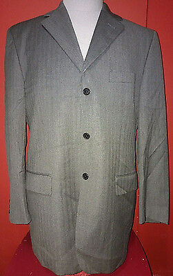 Enzo Tovare Made In Italy 100% Wool Grey Sport Coat Blazer Suit Jacket 44R 3B