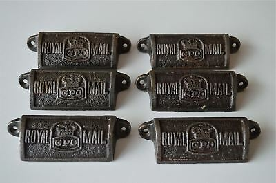 6 vintage cast iron Royal Mail GPO drawer pull handles chest post office GPO