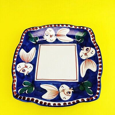 SOLIMENE Vietri Italian Hand Painted Pottery Fish Square Luncheon Snack Plate