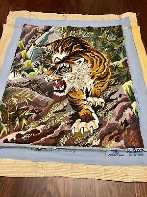 """Bunka Tiger Vintage Matsubato Japanese Punch Embroidery #307 Completed 16"""" x19"""""""