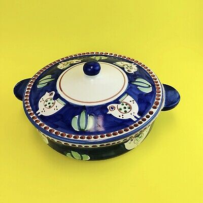 SOLIMENE Vietri Italian Hand Painted Pottery Chicken Covered Casserole Baker