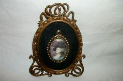 Antique French Bronze Ormolu Frame HP Miniature Lady Portrait Painting Cameo