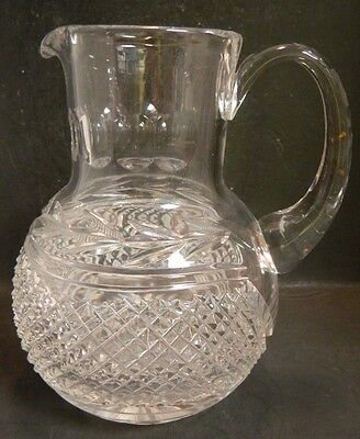 "Vintage Diamond & Ivy Pattern Crystal Bulb Shaped Pitcher 7.63"" x 5"" Excellent"