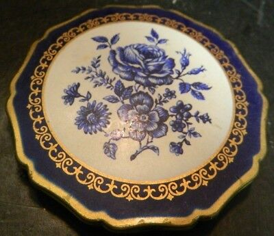 """Vintage Enameled Blue Floral Stratton Round Brass Compact 2.88"""" Very Good Cond"""