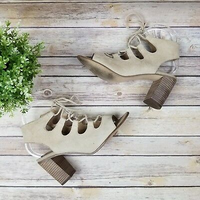 8d27908021b Steve Madden Womens 8.5 Nilunda Cream Leather Suede High Heel Block Sandal  Shoes