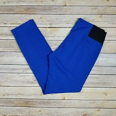 ILUSION Womens L Royal Blue Stretch Pull On Casual Crop Ankle Pants NEW