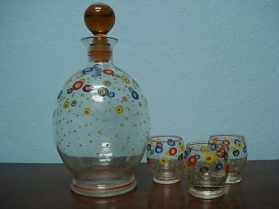 Vintage '40's Glass Art Deco Hand Painted Design Decanter and 3 Matching Glasses