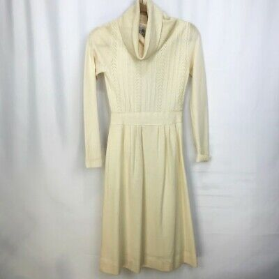 9292d805b07 Vintage Ciao Ltd Cream Wool Cowl Neck Back Zip Long Sleeve Sweater Dress  Size 4