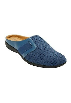 Extra Wide Lola Mules Flat DENIM BLUE Comfortview Loafer Slip-On Stretch 10.5 WW