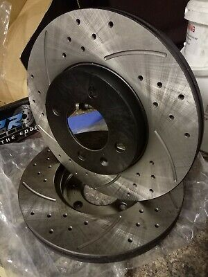 NEW FRONT DRILLED GROOVED 256mm BRAKE DISCS FOR VW PASSAT GOLF MK3 MK4 LUPO GTI