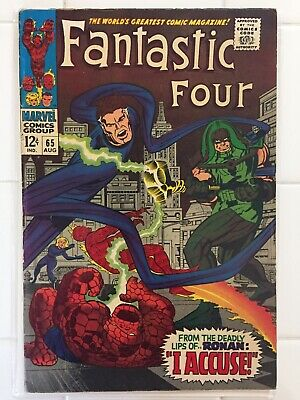 Fantastic Four #65, Vol 1, First Appearance Ronan & Kree! FN/FN+ Stan Lee Marvel