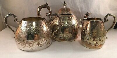 Antique Victorian Silverplate Electroplate Silver Tea Set Deer Engraved Ab &Co
