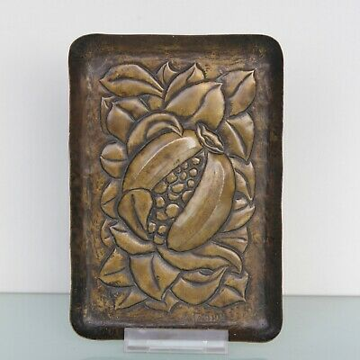 Arts and Crafts brass small tray by A.Carion.