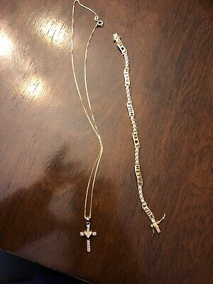 Diamond Accent Cross Pendant And Faith Love Hope Bracelet Set - Gold Plated