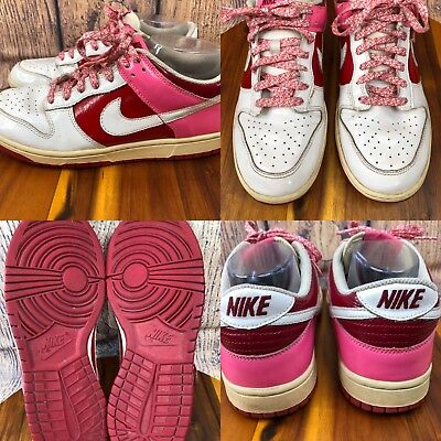 san francisco ed9a8 d4bba Womens NIKE DUNK LOW 317813-114 White-Red-Pink Leather Sneakers Shoes SIZE