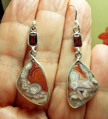* MEXICAN LAGUNA LACE & GARNET EARRINGS * .925 Solid Sterling Silver