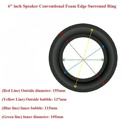 """2Pcs 6"""" Inch Conventional Refoam Edge Kit for Speaker Diaphragm Surround Ring"""