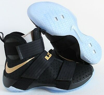 1d6663cca8e NIKE iD ZOOM LEBRON SOLDIER 10 CHAMPIONSHIP BLACK GOLD SZ 13.5  885682-991
