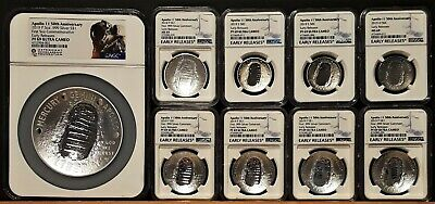 2019-P,D,S, Apollo 11 50th Silver & Clad Lot - All NGC PF/MS69ER - 9 Coins - 5oz