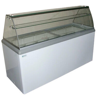 NEW 12 Pan Gelato Dipping Cabinet Glass Display Freezer Excellence HBG12HC #9682