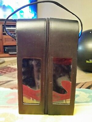Faux Leather Ture 2-Wine Bottle Holder Carrying Case With Strap And Snap